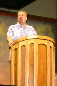Warren in his pulpit