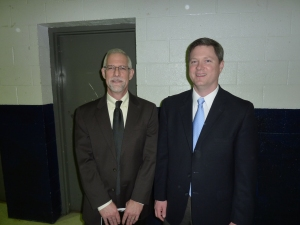 Dr. K. Scott Oliphint (left) with MCPC pastor, Rev. Joe Troutman (right) inside the YMCA.