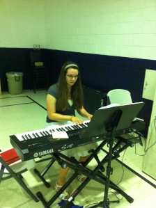 My gifted daughter, Abigail, fills in as pianist during morning worship at the Bedford YMCA.