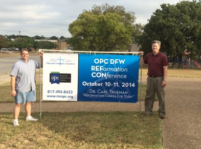Erecting the banner for the first annual OPC DFW RefCon!