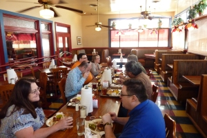 A few members of Mid-Cities OPC enjoy lunch with Dr. Trueman on Friday at Spring Creek Barbeque in Bedford, Texas.