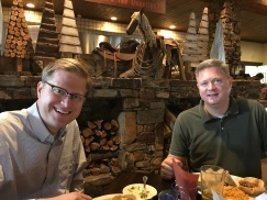 Mid-Cities OPC Pastor Joe Troutman eating lunch with Dr. Jonathan Master who spoke at the 2017 DFW Reformation Conference.